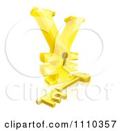 Clipart 3d Gold Yen Lock With A Skeleton Key And Reflection Royalty Free Vector Illustration