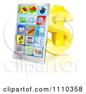 Clipart 3d Smart Phone With App Icons Leaning Against A Gold Dollar Symbol Royalty Free Vector Illustration by AtStockIllustration