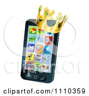 Clipart 3d Cell Phone With A Crown Royalty Free Vector Illustration