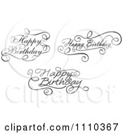 Clipart Black And White Ornate Hand Written Happy Birthday Greetings 2 Royalty Free Vector Illustration