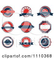 Clipart Red White And Blue Retro Labels Royalty Free Vector Illustration