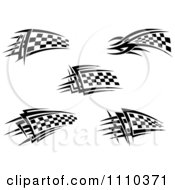 Clipart Black And White Tribal Checkered Racing Flags 2 Royalty Free Vector Illustration