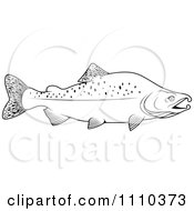 Clipart Black And White Humpback Salmon Fish Royalty Free Vector Illustration