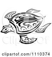 Clipart Tribal Swimming Sea Turtle In Black And White Royalty Free Vector Illustration by Vector Tradition SM