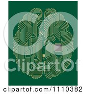 Clipart Circuit Board Computer Brain With A Memory Chip On Green Royalty Free Vector Illustration