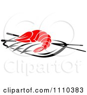 Clipart Shrimp Served On A Plate With Chopsticks Royalty Free Vector Illustration by Vector Tradition SM
