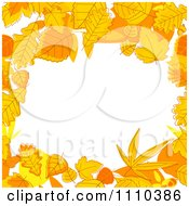 Clipart Orange Autumn Leaf Border Around Copyspace Royalty Free Vector Illustration