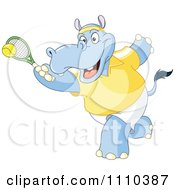Sporty Hippo Playing Tennis
