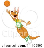 Sporty Kangaroo And Joey Playing Basketball