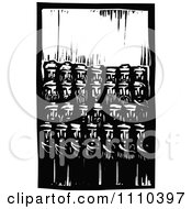 Clipart Group Of Men Black And White Woodcut Royalty Free Vector Illustration by xunantunich