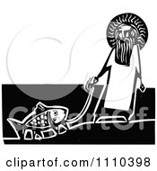 Clipart Jesus With A Legged Goldfish On A Leash Black And White Woodcut Royalty Free Vector Illustration