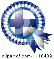 Clipart Shiny Finland Flag Rosette Bowknots Medal Award Royalty Free Vector Illustration