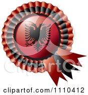 Shiny Albanian Flag Rosette Bowknots Medal Award