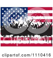 Clipart Silhouetted Dancers And Grunge Over An American Flag Royalty Free Vector Illustration by KJ Pargeter