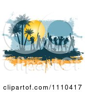 Silhouetted Dancers On Orange And Blue Grunge With Palm Trees And A Sun