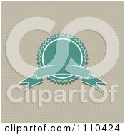 Clipart Retro Turquoise Quality Assurance Badge Over Polka Dots Royalty Free Vector Illustration