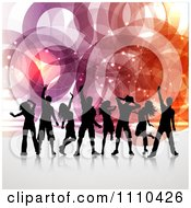 Clipart Silhouetted Dancers Over Rings And Sparkles Royalty Free Vector Illustration