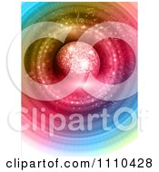Clipart 3d Disco Ball Over Colorful Rings And Music Notes Royalty Free Vector Illustration