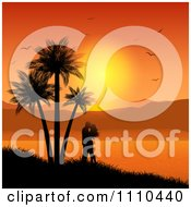 Clipart Honeymooning Couple Kissing Near Palm Trees Over A Tropical Bay At Sunset Royalty Free Vector Illustration