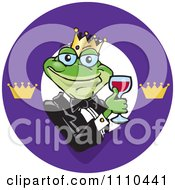Clipart Frog Prince With Red Wine Logo Royalty Free Vector Illustration by Dennis Holmes Designs