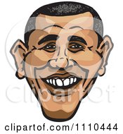 Clipart Caricature Of Barack Obama Smiling Royalty Free Illustration by Dennis Holmes Designs