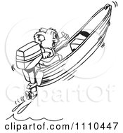 Clipart Black And White Aussie Koala Boating Royalty Free Vector Illustration by Dennis Holmes Designs