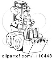 Clipart Black And White Aussie Koala Operating A Bobcat Royalty Free Vector Illustration by Dennis Holmes Designs