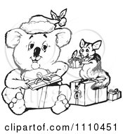 Clipart Black And White Aussie Christmas Koala Opening Presents With A Possum Royalty Free Vector Illustration
