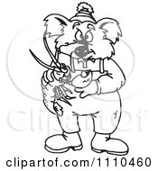 Clipart Black And White Aussie Koala Holding A Crayfish Royalty Free Vector Illustration