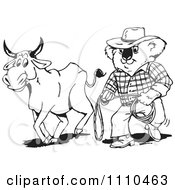 Clipart Black And White Aussie Koala Cowboy And Bull Royalty Free Vector Illustration