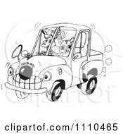 Clipart Black And White Aussie Animals Riding In A Clown Car Royalty Free Vector Illustration