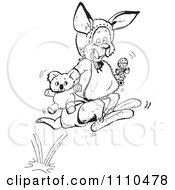 Clipart Black And White Aussie Kangaroo Baby Hopping Royalty Free Vector Illustration