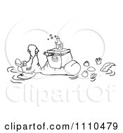 Clipart Black And White Aussie Crocodile Floating In A Pond With A Cooler And Drinks On His Belly Royalty Free Vector Illustration