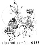 Clipart Black And White Easter Bunny Holding A Crocodile Hatching Form An Egg Royalty Free Illustration by Dennis Holmes Designs