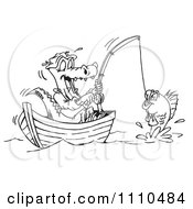 Clipart Black And White Crocodile Fishing In A Boat Royalty Free Illustration