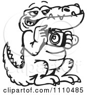Clipart Black And White Aussie Crocodile Taking Pictures Royalty Free Illustration by Dennis Holmes Designs