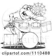 Clipart Black And White Aussie Crocodile Drummer Royalty Free Vector Illustration