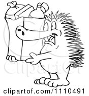Clipart Black And White Aussie Echidna Grocery Shopping Royalty Free Illustration