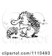 Clipart Black And White Aussie Echidna With An Ant And Easter Egg Royalty Free Illustration by Dennis Holmes Designs