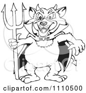 Clipart Black And White Tasmanian Devil Satan With A Trident Royalty Free Vector Illustration by Dennis Holmes Designs