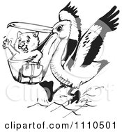 Clipart Black And White Aussie Wombat Traveling In A Pelicans Mouth Royalty Free Vector Illustration by Dennis Holmes Designs
