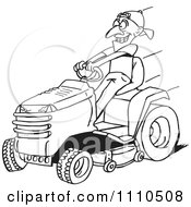 Clipart Black And White Man On A Riding Lawn Mower Royalty Free Vector Illustration