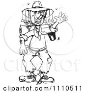 Clipart Black And White Stinky Australian Hiker Man Waving Royalty Free Vector Illustration