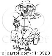 Clipart Black And White Camper Drinking Coffee By A Fire While Talking On A Cell Phone Royalty Free Vector Illustration by Dennis Holmes Designs