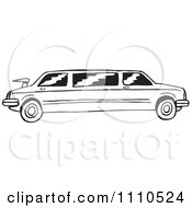 Clipart Black And White Stretch Limousine Royalty Free Vector Illustration
