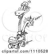 Clipart Black And White Snake Roller Skating Royalty Free Vector Illustration
