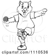Clipart Black And White Aussie Wombat Throwing A Shot Put Royalty Free Vector Illustration by Dennis Holmes Designs
