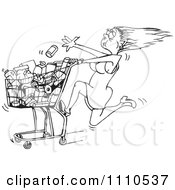 Clipart Black And White Rushed Woman Tossing Food Into A Grocery Cart Royalty Free Vector Illustration