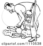 Clipart Black And White Farmer Shearing A Sheep Royalty Free Vector Illustration by Dennis Holmes Designs