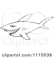 Clipart Black And White Shark 2 Royalty Free Vector Illustration by Dennis Holmes Designs